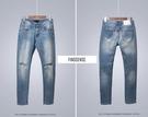 韓國 復古裝 高質感 破膝褲 小刀割 高品質 牛仔褲