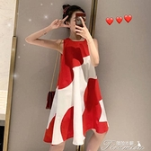 無袖連衣裙 大碼女裝連衣裙2021夏季寬松胖mm無袖中長款紅色拼接顯瘦背心裙子 快速出貨