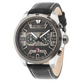 POLICE 星際元素雙時區腕錶-黑色x鋼色