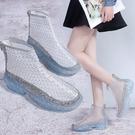 夏季網鞋女士薄款高筒鞋鏤空網紗低跟包頭涼靴果凍水晶底運動鞋潮  一米陽光