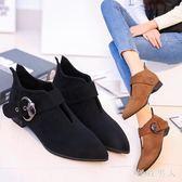 秋季新款韓版時尚一字扣帶式短筒女式裸靴低跟方跟簡約風大碼短靴 DN17572【極致男人】
