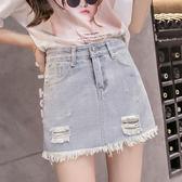 限時38折 韓國風防走光褲裙牛仔短裙破洞時尚百搭短褲裙單品短裙