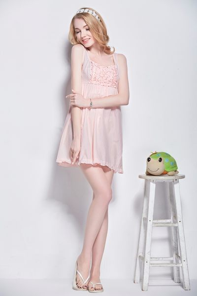 棉綢睡衣女夏季純色睡裙-dee007