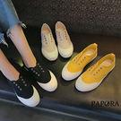 PAPORA休閒懶人帆布鞋K8065黑/黃/白