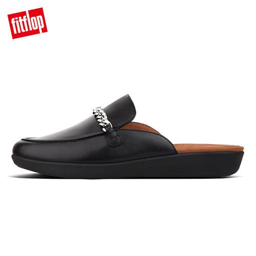 【FitFlop】SERENE CHAIN LEATHER MULES無後跟時尚穆勒鞋(黑色)