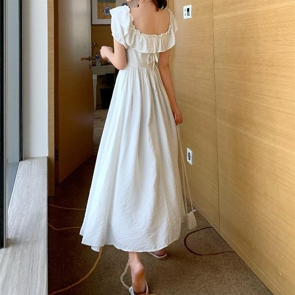 洋裝 夏季韓版收腰顯瘦白色長裙法式復古方領氣質短袖連身裙女 芊墨左岸