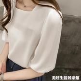 雪紡上衣 夏季新款韓版寬鬆白色短袖雪紡衫女遮肚子洋氣百搭配裙子上衣 美好生活