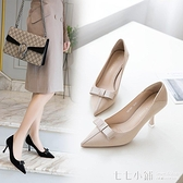 2021春季新款小清新少女尖頭細跟單鞋女甜美蝴蝶結四季中跟高跟鞋