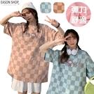 EASON SHOP(GQ0925)實拍撞色格紋格子卡通字母印花落肩寬鬆圓領短袖五分袖拼色棉T恤女上衣服大碼寬版