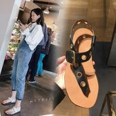 涼鞋女2018夏季正韓時尚女鞋皮帶扣平跟夾腳平底簡約羅馬涼鞋