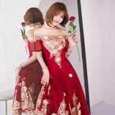 一字領洋裝敬酒服新娘夏季一字肩紅色顯瘦結婚洋裝小禮服宴會中長款 法布蕾輕時尚igo