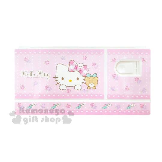 〔小禮堂〕Hello Kitty 水彩調色盤《粉.玫瑰花.大臉.小熊》附花型海綿 8809416-25504