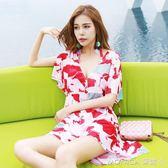 泳衣女三件套韓國溫泉小香風小胸聚攏性感罩衫大碼遮肚比基尼 莫妮卡小屋