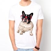 Glasses French Bulldog短袖T恤 白色 眼鏡 法鬥巴哥狗犬動物圖案相片潮流趣味Gildan