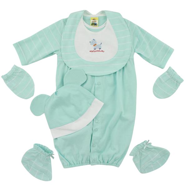 【愛的世界】純棉耳帽長袖兩用嬰衣5件組禮盒/3~6個月-台灣製-  - ---禮盒推薦