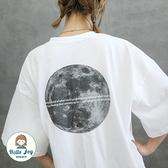 【正韓直送】質感月球短袖上衣 3色 月球MOON 外空月球 棉質 哈囉喬伊 G145