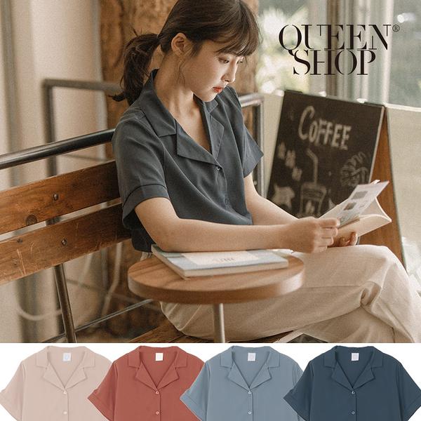 Queen Shop【01023759】睡衣領排釦柔軟雪紡襯衫 四色售*現+預*