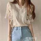 蕾絲上衣 韓國chic法式小眾蕾絲衫女夏大碼胖mm復古花邊鏤空顯瘦短袖上衣服 阿薩布魯