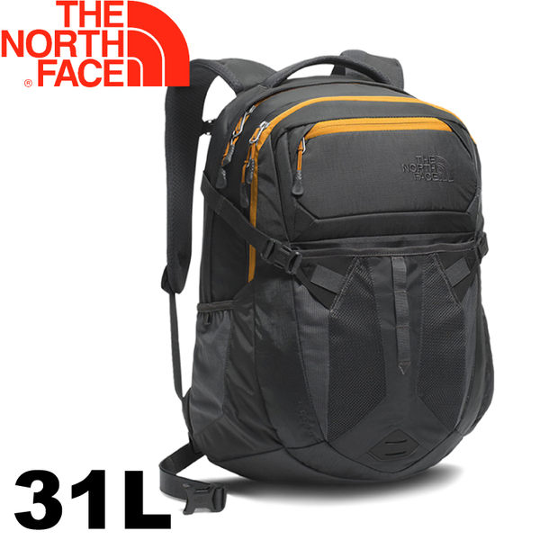 【The North Face 美國 31L 15吋電腦背包《灰/黃》】CLG4/電腦書包/筆電包/後背包★滿額送
