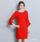 2020年夏季新款純色通勤職業喇叭袖洋裝修身大碼顯瘦氣質一步裙XL3528【東京衣社】