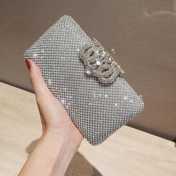 凱蒂熊代購-歐美時尚女包包晚宴鑲鉆手拿包潮斜挎鏈條小方包宴會包
