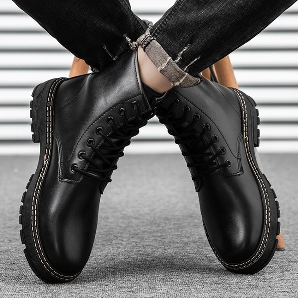 男靴 馬丁靴男高幫短靴透氣英倫風韓版百搭工裝皮靴男靴子潮鞋秋季男鞋
