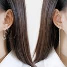 S925純銀耳釘女士潮人簡約滿鑚半圓耳線耳夾個性耳環學生韓國飾品
