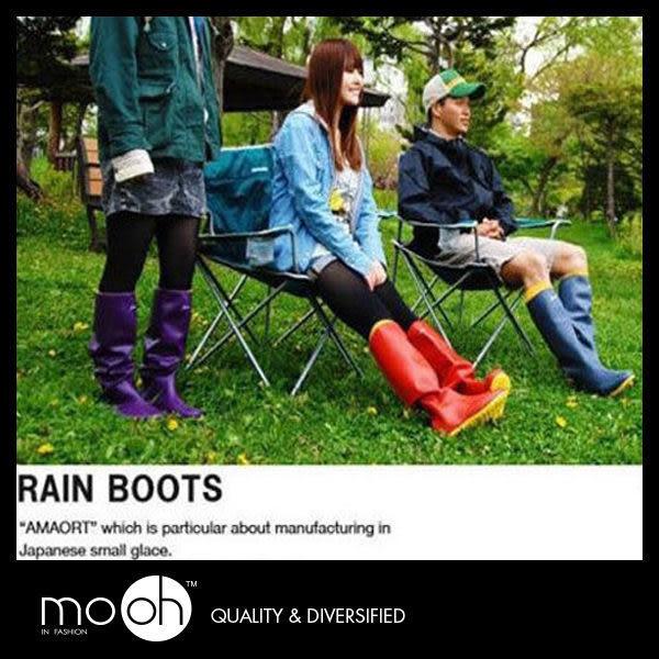 【24hr出貨】日本 amaort 正品 高筒雨靴/ 糖果色 撞色 襪套兩穿 折疊輕便長筒 情侶款 mo.oh
