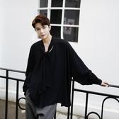 長袖襯衫-純色時尚優雅胸前綁帶男上衣2色73po7【巴黎精品】