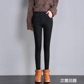 黑色鬆緊腰加絨牛仔褲女冬季高腰2019新款韓版加厚帶絨小腳褲『艾麗花園』
