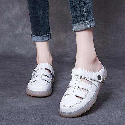 包頭半拖鞋 真皮手工女鞋 平底休閒涼鞋/2色-夢想家-標準碼-0609