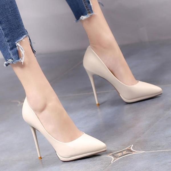 歐美性感尖頭細跟高跟鞋春秋防水台黑色年會走秀工作鞋米色單鞋女 雙12全館免運