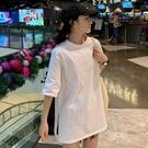 短袖T恤 純白色短袖t恤女純棉基礎內搭外穿側邊開叉打底衫寬松大碼上衣夏 快速出貨