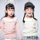 Mini Jule女童 上衣 滿版小花蕾絲蝴蝶結領口/點點蝴蝶結印花荷葉邊領口長袖上衣(共3款) Azio Kids