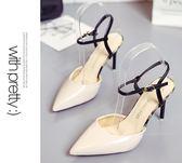 2018夏季新款高跟細跟尖頭包頭韓版女涼鞋性感韓版潮鞋百搭女單鞋第七公社