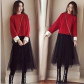 新年新款打底套裙紅色本命年拜年連身裙子女裝秋冬款過年衣服 韓國時尚週