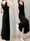 洋裝2021新款夏v領背心長裙美背顯瘦黑裙子春季氣質法式吊帶裙 蘿莉新品