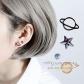 耳釘星球氣質韓國黑色潮人個性創意純銀耳釘女星星簡約酷帥歐美耳環夢依港