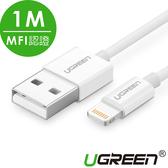 現貨Water3F綠聯 1M蘋果MFI認證 Lightning to USB傳輸線