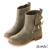 amai復古刷色皮帶裝飾彈性中筒靴 灰