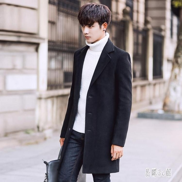 韓版潮男士中長款時尚毛呢大衣英倫男裝純色百搭風衣學生呢子外套 YN3710『易購3c館』