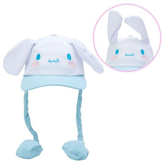 小禮堂 大耳狗 造型耳朵動動玩偶帽 兔耳帽 鴨舌帽 老帽 遮陽帽 (藍白 大臉) 4550337-40918