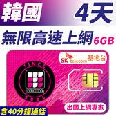 【TPHONE上網專家】韓國 4天無限上網卡 前6GB高速 支援4G 含40分鐘通話 使用SK最大電信 隨插即用