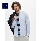 Gap男裝 舒適牛津紡彈力長袖襯衫 227655-藍白豎條紋