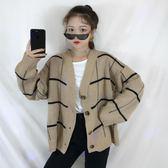 秋冬女裝韓版BF風寬鬆格子開衫毛衣外套中長款長袖休閒針織衫上衣