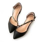 amai素面斜口一字軟金屬繞背中跟鞋 黑