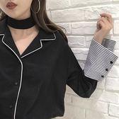 拼接條紋長袖雪紡襯衫女春裝新款韓版寬鬆西裝領單排扣襯衣上衣潮