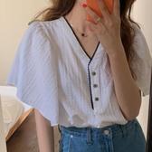 韓國韓國ins百搭減齡撞色花邊V領蝙蝠袖寬松柔軟娃娃衫套頭顯瘦短袖T袖女