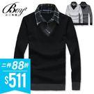 ●小二布屋BOY2【NZ76702】。 ●型男針織,拼接格紋。 ●3色 現+預。