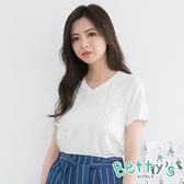 betty's貝蒂思 氣質款蔞空蕾絲花T-shirt(白色)